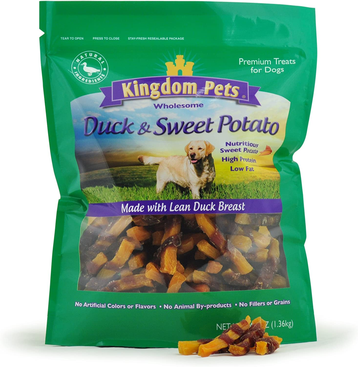 Kingdom Pets Filler Free Duck Jerky & Sweet Potato Twists, Premium Treats for Dogs, 48-ounce bag