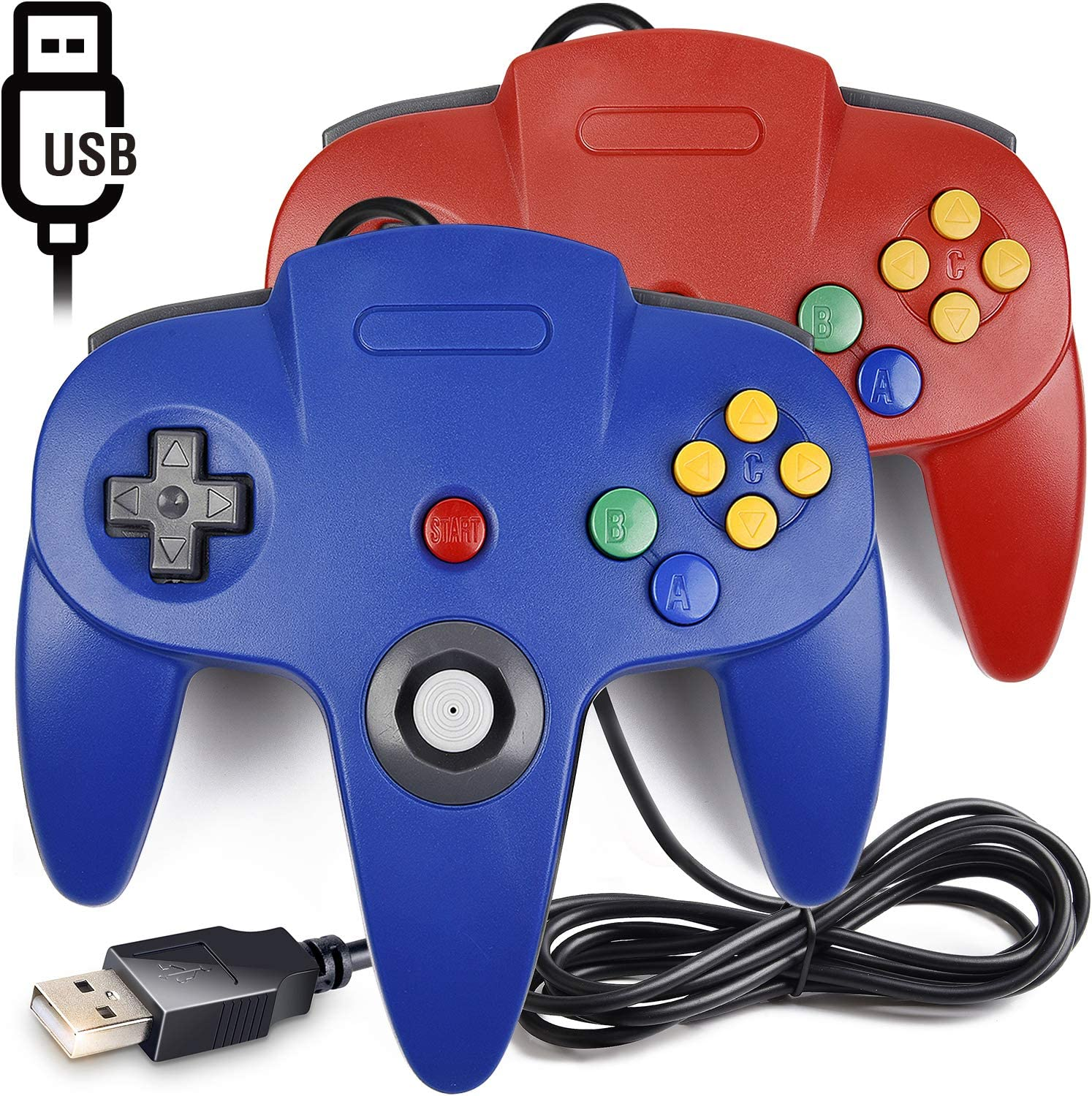 [USB Version] 2 Pack Classic N64 Controller, iNNEXT N64 Wired USB PC Game pad Joystick, N64 Bit USB Wired Game Stick for Windows PC MAC Linux Raspberry Pi 3 Genesis Higan (Red/Blue)