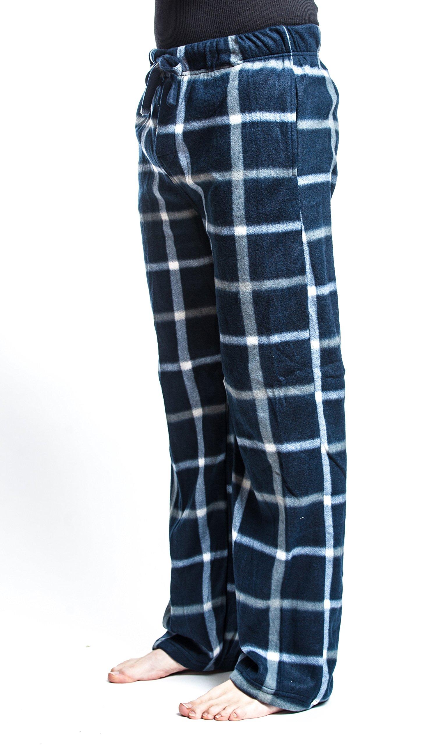 Men's Flannel Fleece Brush Pajama Sleep & Lounge Pants (Large, Blue) …