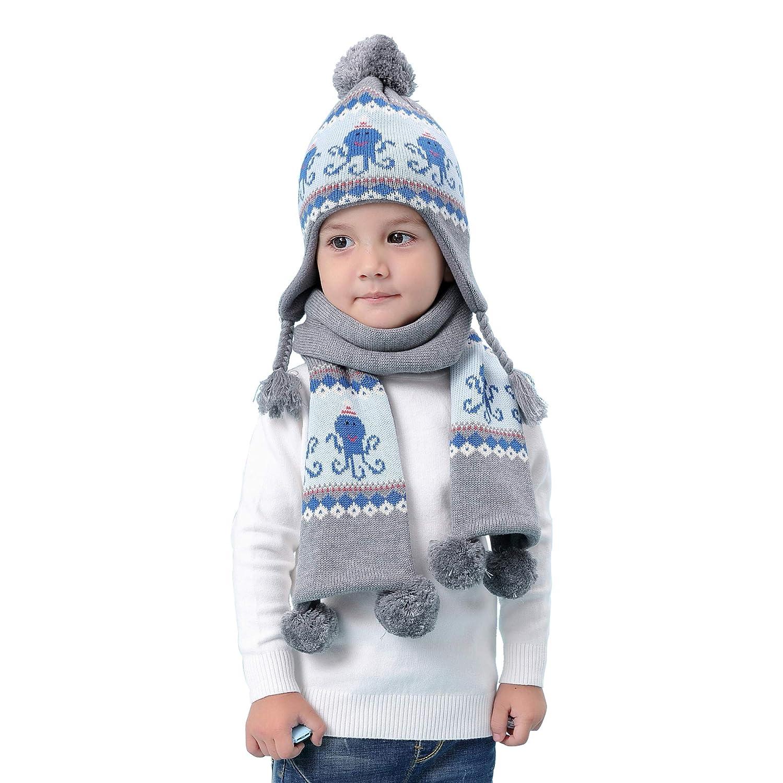 Baby Kinder Stricke Mütze Schal Velvet Gefüttert 2er Pack Set Jungen Mädchen 6 Monate bis 8 Jahre Winter Thermal Pom Pom Beanie Hut Strickmütze Halstücher Cartoon Oktopus Grau