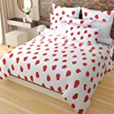 Home Candy Fruity Bloom 120 TC Cotton Double Bedsheet with 2 Pillow Covers - Floral, Red