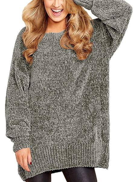 a6081966eab ZKESS Women Long Sleeve Round Neck Cozy Velvet Chunky Pullovers Sweater