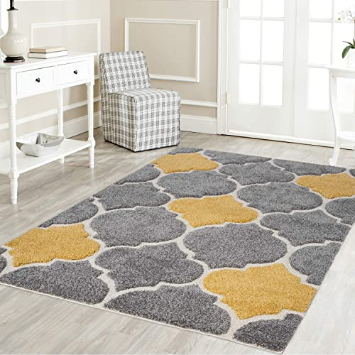 Mod-Arte Platinum Shag Collection Plush Area Rug Modern Contemporary Style Grey Yellow 5 2 X7 2
