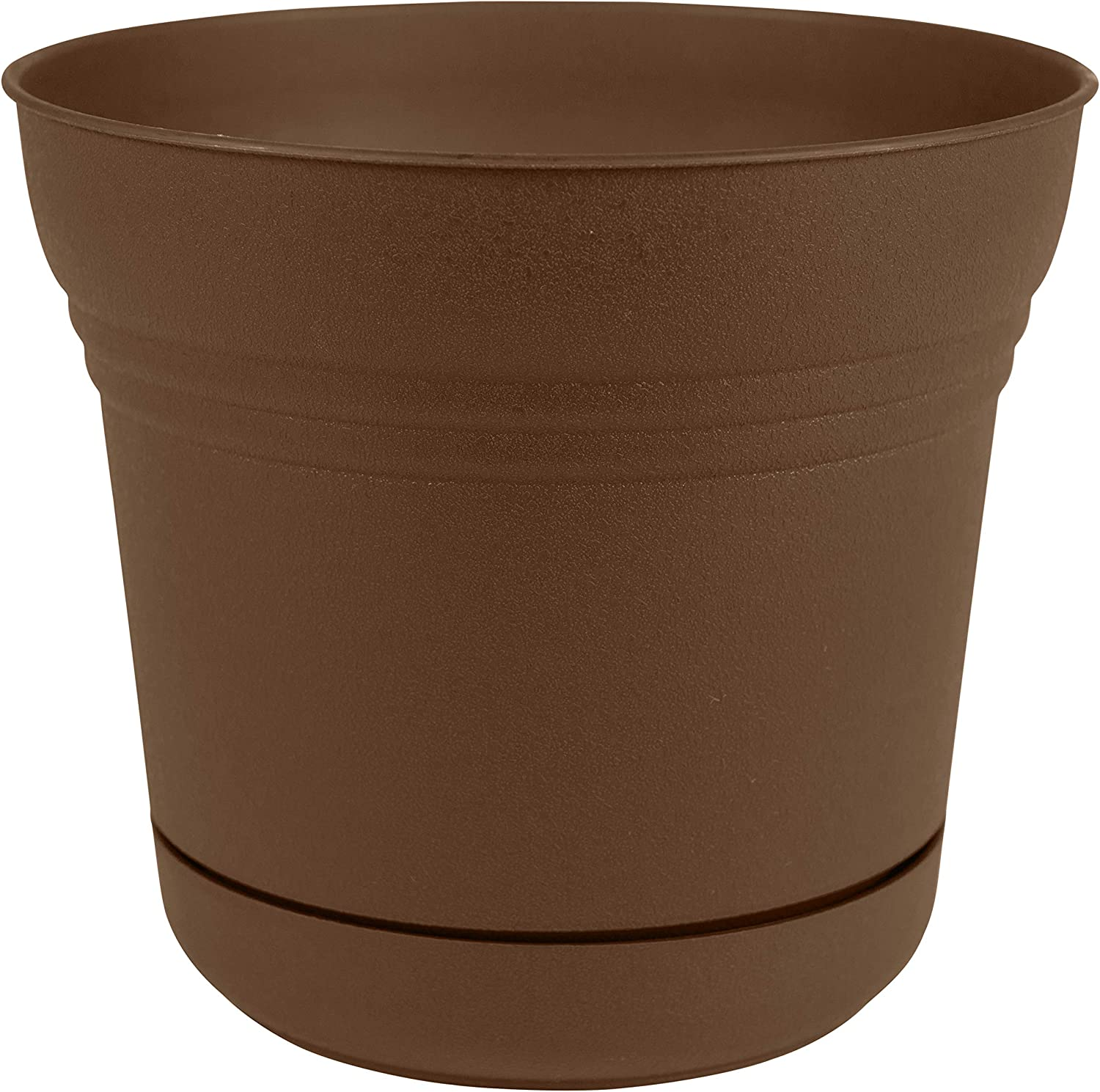 Bloem Saturn Planter with Saucer, 10 , Chocolate SP1045