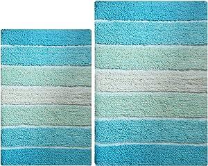 Chardin Home - 100% Pure Cotton - 2 Piece Cordural Stripe Bath Rug Set, (24''x40''& 21''x34'') Aqua Turquoise