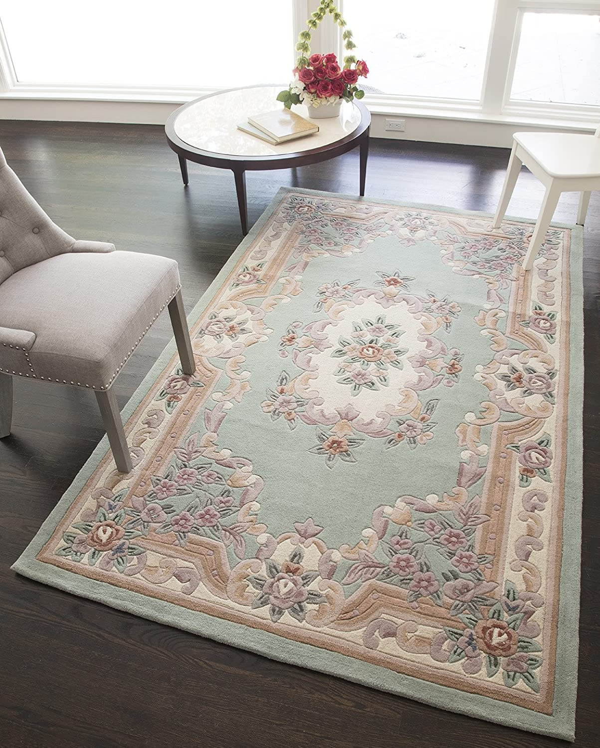 Rugs America New Aubusson Area Rug 4 Feet By 6 Feet Light Green Furniture Decor