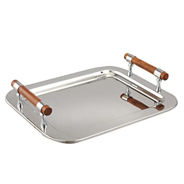 Elegance Stainless Steel Rectangular Tray with Wood Handles, 16.5 by 13-Inch, Silver