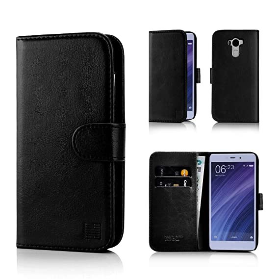 best service bb9ab 5094e Xiaomi Redmi 4 Case by 32nd Book Style Faux Leather Wallet Cover for Redmi  4 - Black