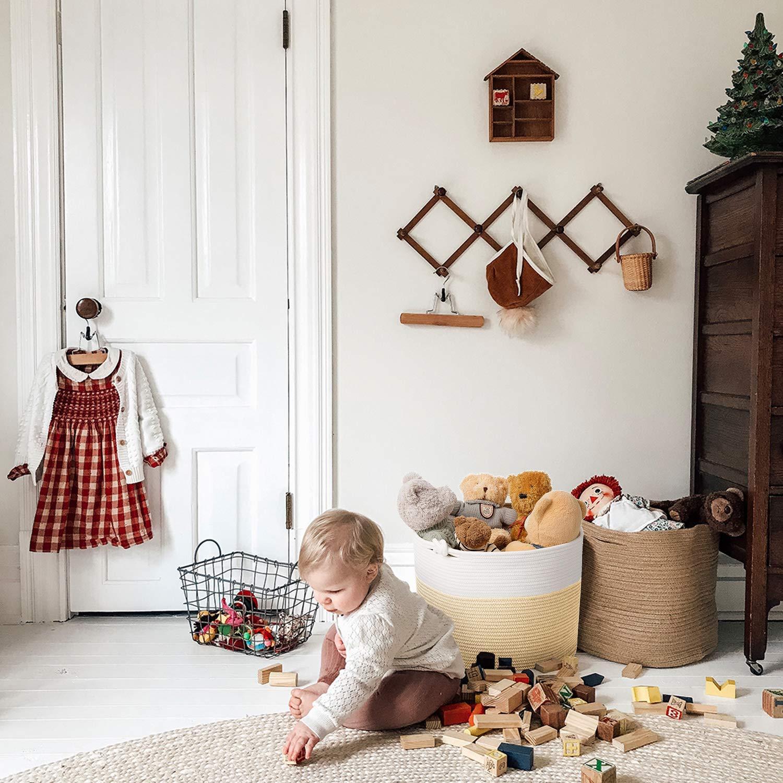 Goodpick Large Cotton Rope Basket 15.8x15.8x13.8-Baby Laundry Basket Woven Blanket Basket Nursery Bin