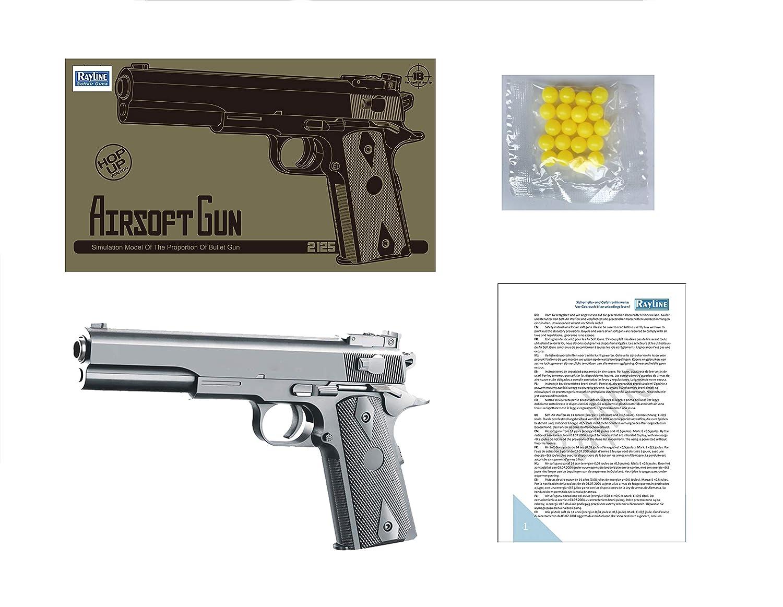 energ/ía: 0.5 Julios presi/ón de Resorte Color: Gris Calibre 6 mm Pistola Airsoft de pl/ástico Rayline 2125