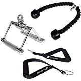 Cable Machine Attachments for Gym - Lat Pulldown Attachment Set with Tricep Pull Down Rope, Exercise Handles and V Row…