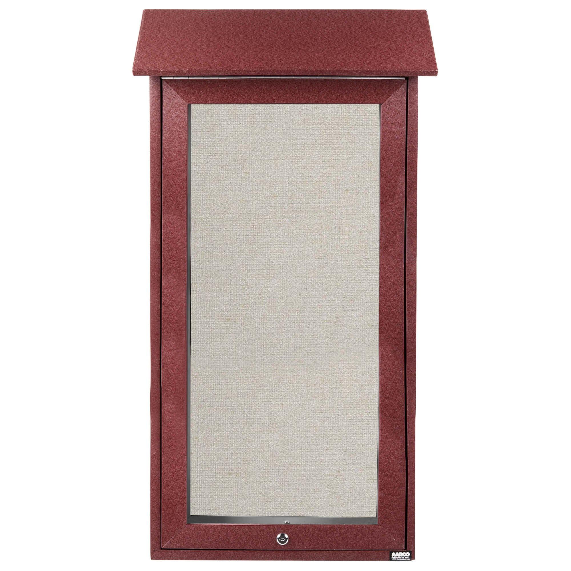 TableTop King OPLD3416-7 Slimline 34'' x 16'' Rosewood Outdoor Plastic Lumber Message Center with Vinyl Board - Single Top Hinged Door