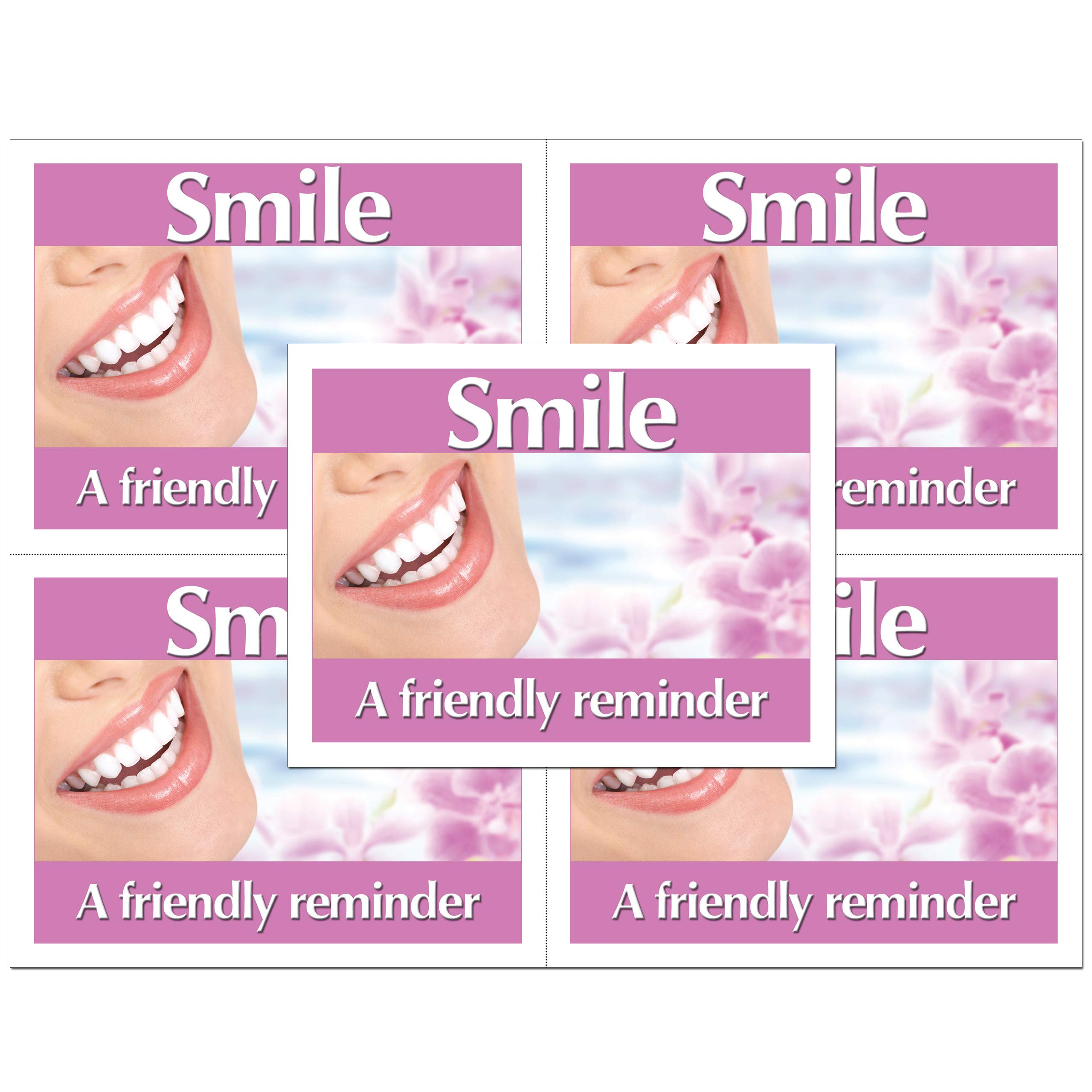 Dental Laser Appointment Reminder Postcards with Personalizable Backs. 4 Cards Micro Perforated for Tear-Off at 4.25'' x 5.5'' on an 8.5'' x 11'' Sheet of 8 Pt Card Stock. (500) by Custom Recall