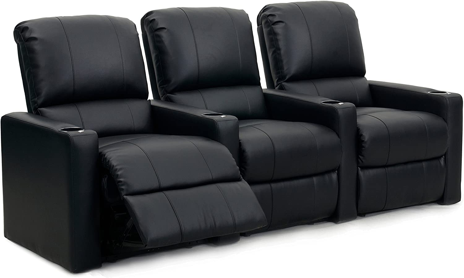 Octane Seating Octane Charger XS300 Leather Home Theater Recliner Set (Row of 3), Black