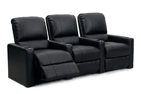 Octane Seating CHARGER-R3SM-BND-BL Octane Charger XS300 Leather Home Theater Recliner Set Row of 3 , Black