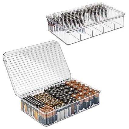 mDesign Juego de 2 cajas apilables para baterías y cargadores – Caja para pilas AA,