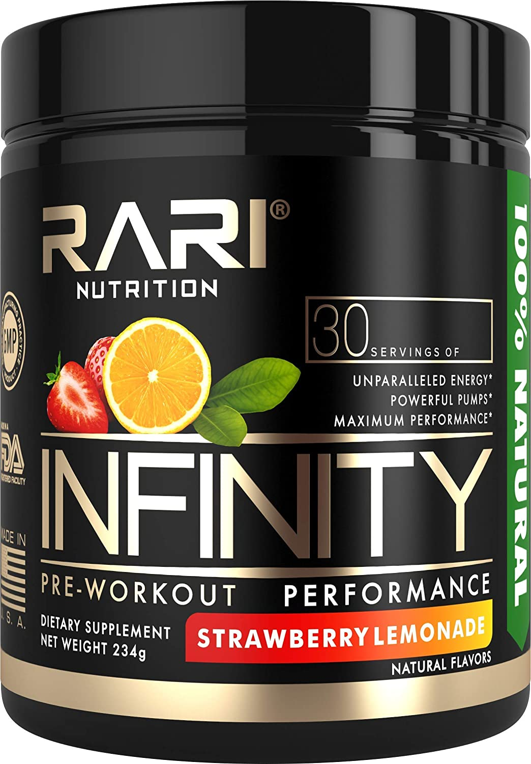 RARI Nutrition – INFINITY Preworkout – 100 Natural Pre Workout Powder – Keto and Vegan Friendly – Energy, Focus, and Performance – Men and Women – No Creatine – 30 Servings Strawberry Lemonade