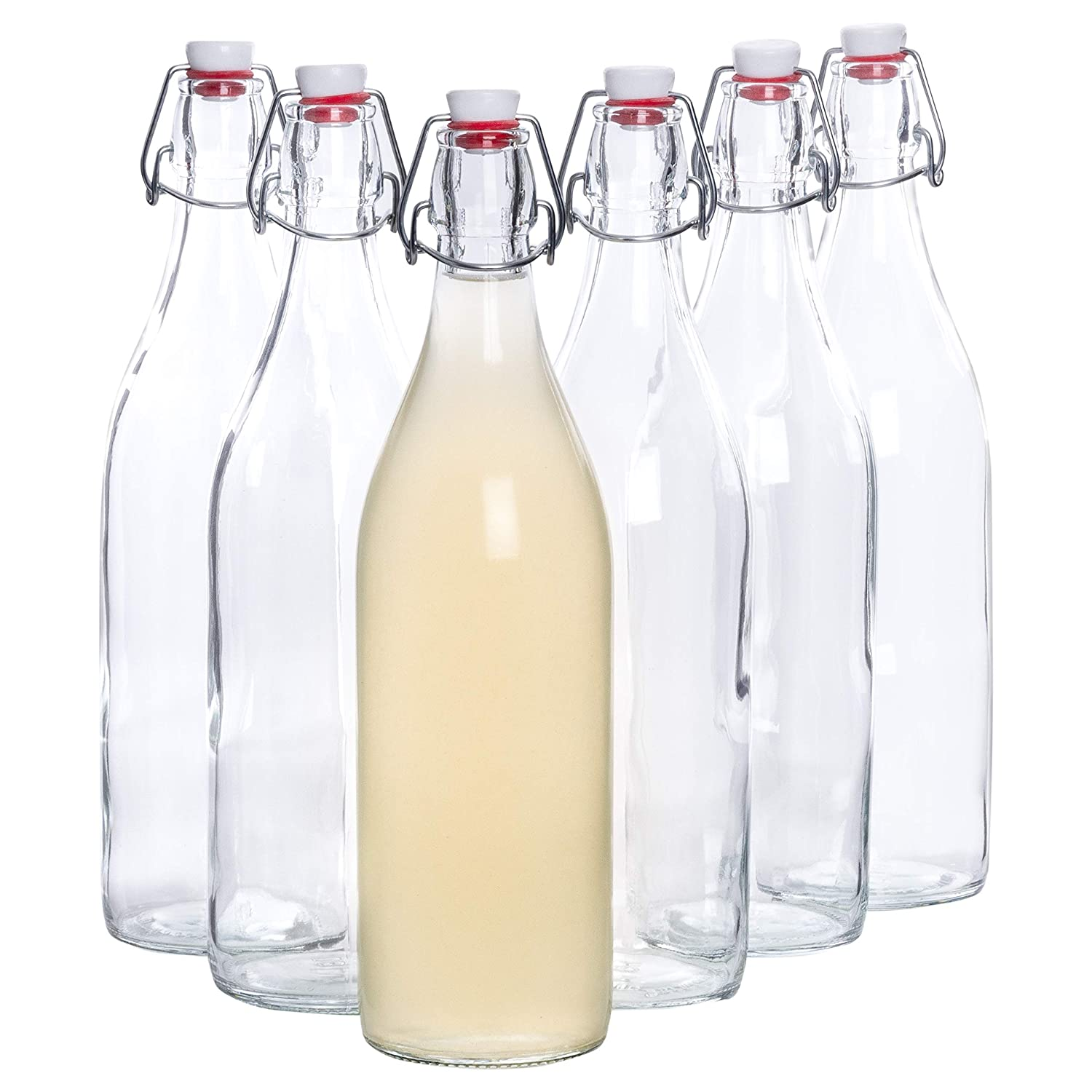 Bormioli glass bottles with cover 'Giara', 6 bottles, filling capacity 1000 ml, total height xx, perfect to add oils, to refine schnapps or to serve water, juices and wines