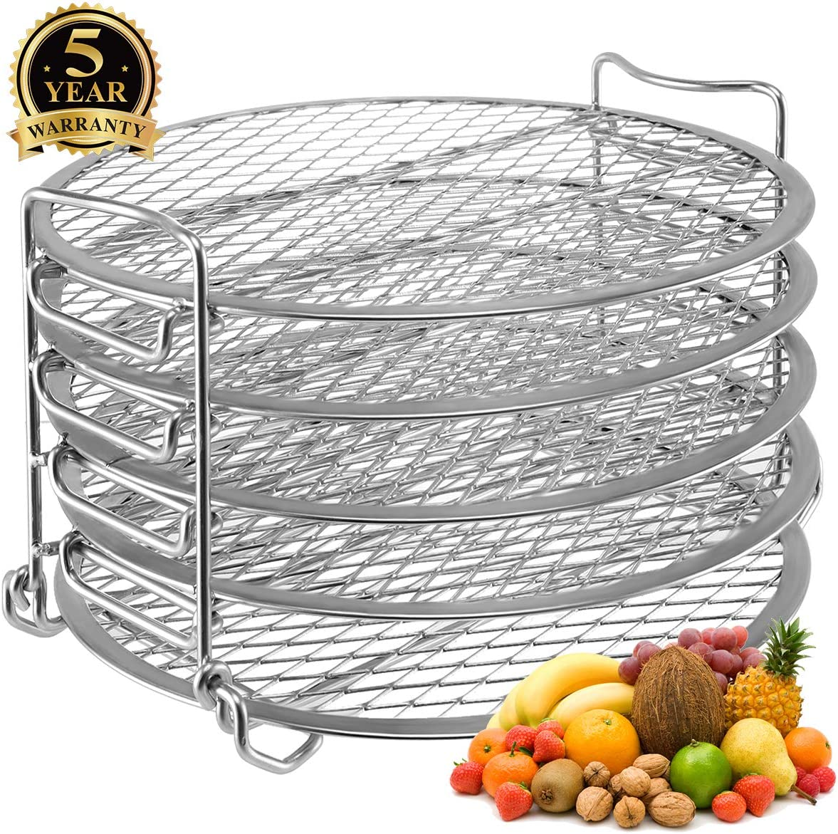 Dehydrator Stand for Ninja Foodi Accessories, Dehydrator Rack with Five Stackable Layers Food Grade 304 Stainless Steel Compatible with Ninja Foodi Pressure Cooker 6.5 qt & 8 qt