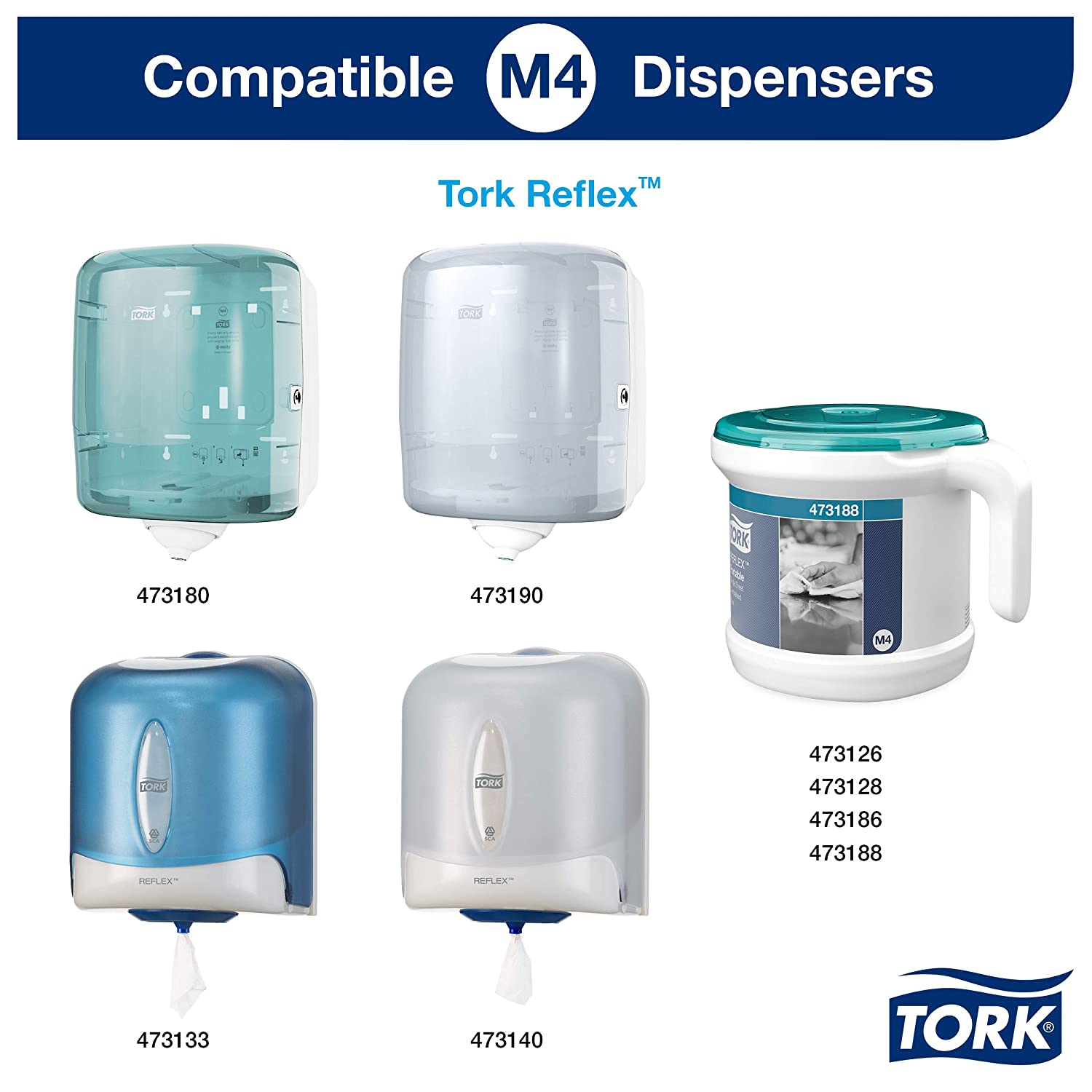 Tork 473391 Reflex Papel de secado Extra/Advanced/ 2 capas/Papel multiuso compatible con el sistema M4 / 6 bobinas x 150,8 m de largo/color azul: Amazon.es: ...