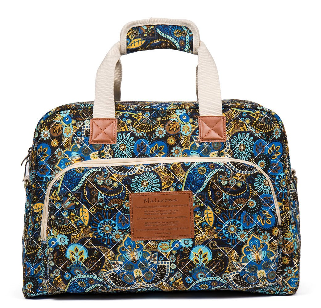 Malirona Canvas Overnight Bag Women Weekender Bag Carry On Travel Duffel Bag Floral (Black Flower) by Malirona (Image #2)