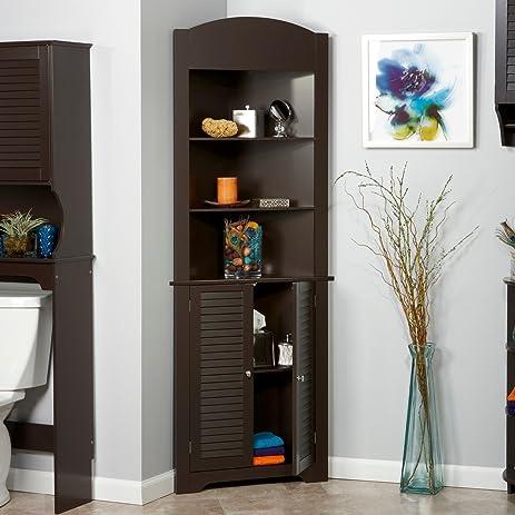 Tall Corner Etagere With Brown Shutter Door Corner CabinetRoom Décor  Furniture Corner Wall Cabinet Corner Storage