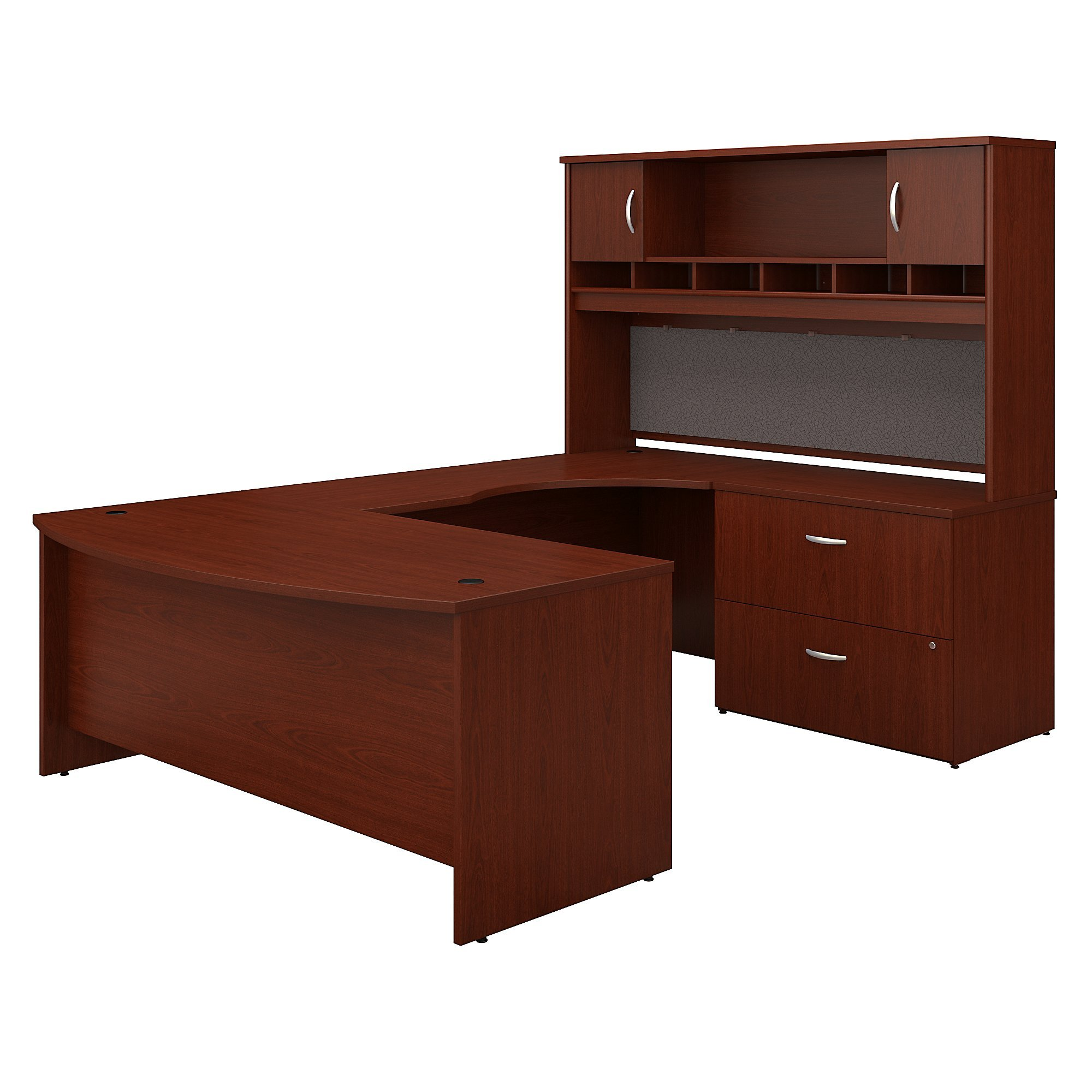 Bush Business Furniture Series C 72W Right Handed Bow Front U Shaped Desk with Hutch and Storage in Mahogany by Bush Business Furniture (Image #2)