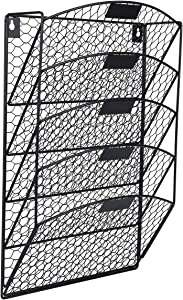EasyPAG 5 Tier Wall File Holder Hanging Mail Organizer Metal Chicken Wire Wall Mount Magazine Rack for Home and Office,Black
