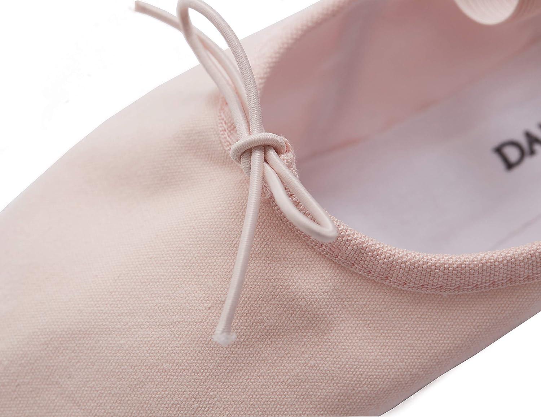DANCEYOU Adjustable Split Sole Ballet Flat Dance Slippers Toddler//Little Kid//Big Kid//Women