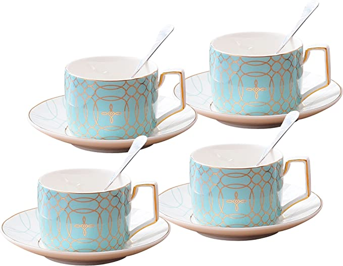 Jusalpha Fine China Modern Elegant Tea Cup And Saucer Set Coffee Cup Set With Saucer And Spoon Tcs15 4 Blue Amazon Ca Home Kitchen