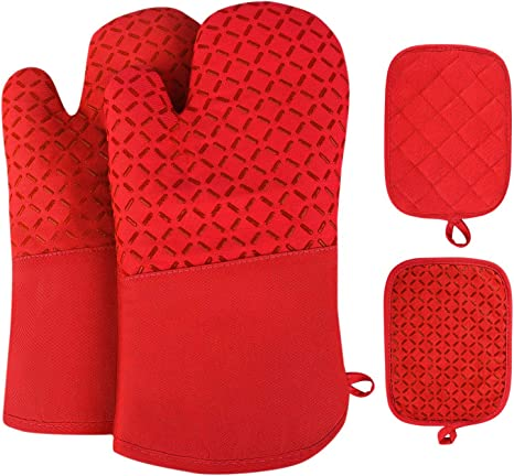 Silicone Cotton Oven Mitts with Heat Resistant 500 F Non-Slip Set of 2 Oven Gloves and Pot Holder Kitchen Set for BBQ Cooking Baking,Machine Washable Red
