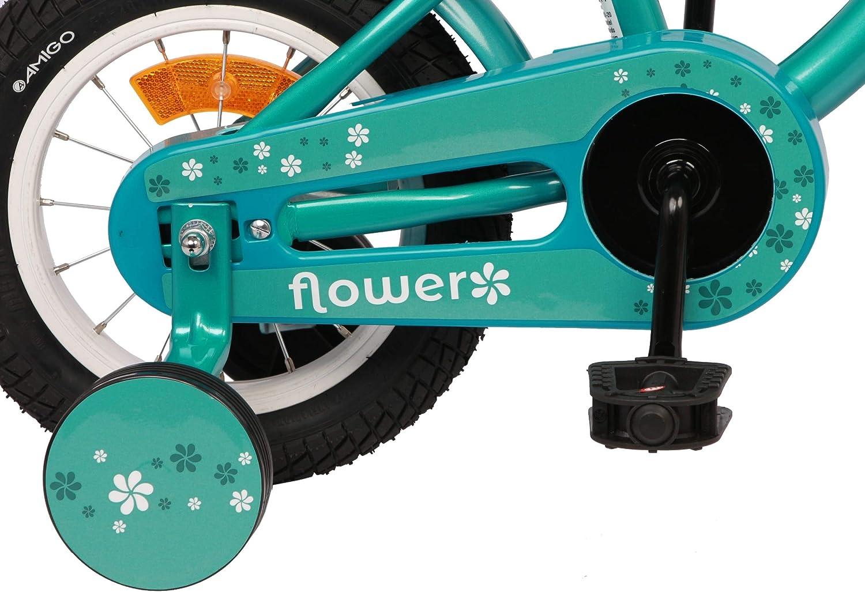 AMIGO Flower V/élo pour enfant Fille 12 21,5 cm Frein /à r/étrop/édalage Vert