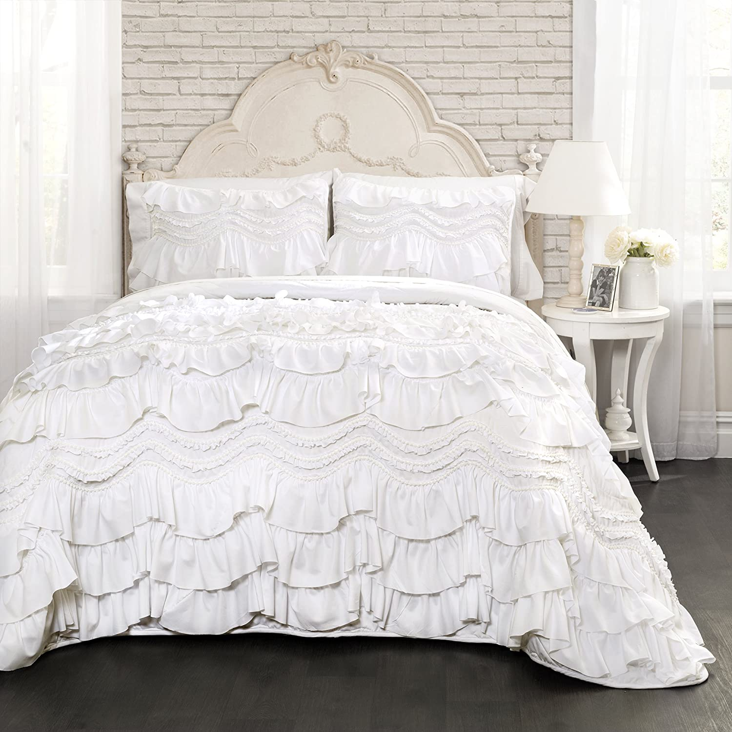 Lush Decor Kemmy Quilt Ruffled Textured 3 Piece Full Queen Size Bedding Set, White
