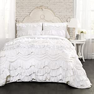 Lush Decor Kemmy Quilt - Ruffled Textured 3 Piece King Size Bedding Set, White