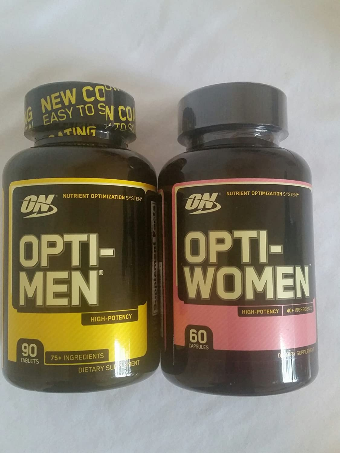 Optimum Nutrition Opti-Men and Opti-Women Combo Pack, Men s and Women s Multivitamin Opti-Men 90 Tablets and Opti-Women 60 Capsules