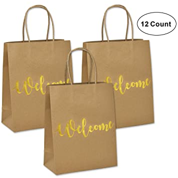 24 welcome kraft paper wedding gift bags for hotel guests birthday party favors baby boy girl
