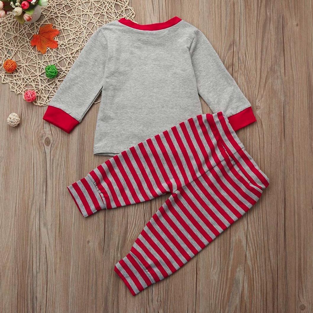 Lanhui Sunny Girl Boy Christmas Santa Tops+Stripe Pants Outfits Clothes Set