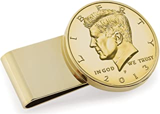 product image for Gold-Layered JFK Half Dollar Stainless Steel Coin Money Clip