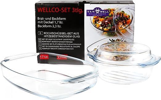 Van Well 3 tlg. Brat und Backform Set | 1.7L Auflaufform