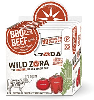 product image for Wild Zora Meat and Veggie Bars - BBQ Beef - 100% Grass Fed Beef - Healthy Jerky Paleo Snacks with Organic Veggies - Gluten Free, Soy Free, High Protein, No Added Sugar - (10-Pack)