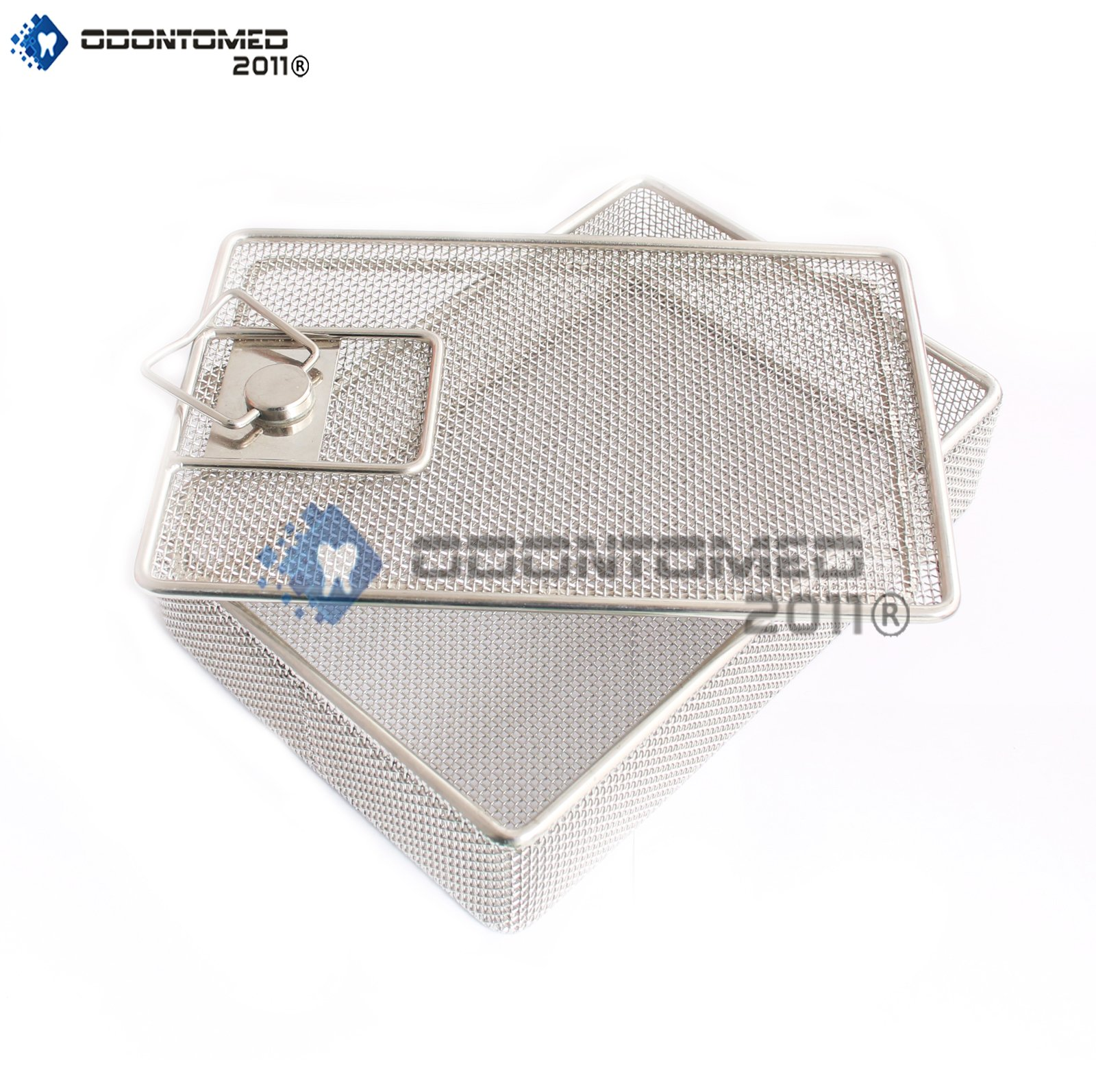 OdontoMed2011 INSTRUMENT TRAY AND MESH PERFORATED BASKETS STERILIZATION TRAY 8.5'' X 6'' X 1.75'' WITH LID STAINLESS STEEL, OD2011-DN-314