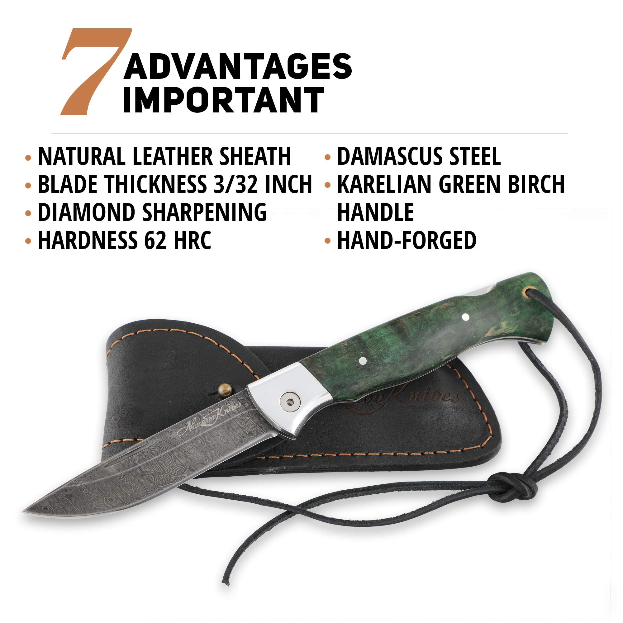 Folding Knife Special Edition – Pocket Knife Wolf – Real Damascus Steel – Karelian Birch Handle – Durable Leather Sheath by Nazarov Knives (Image #4)
