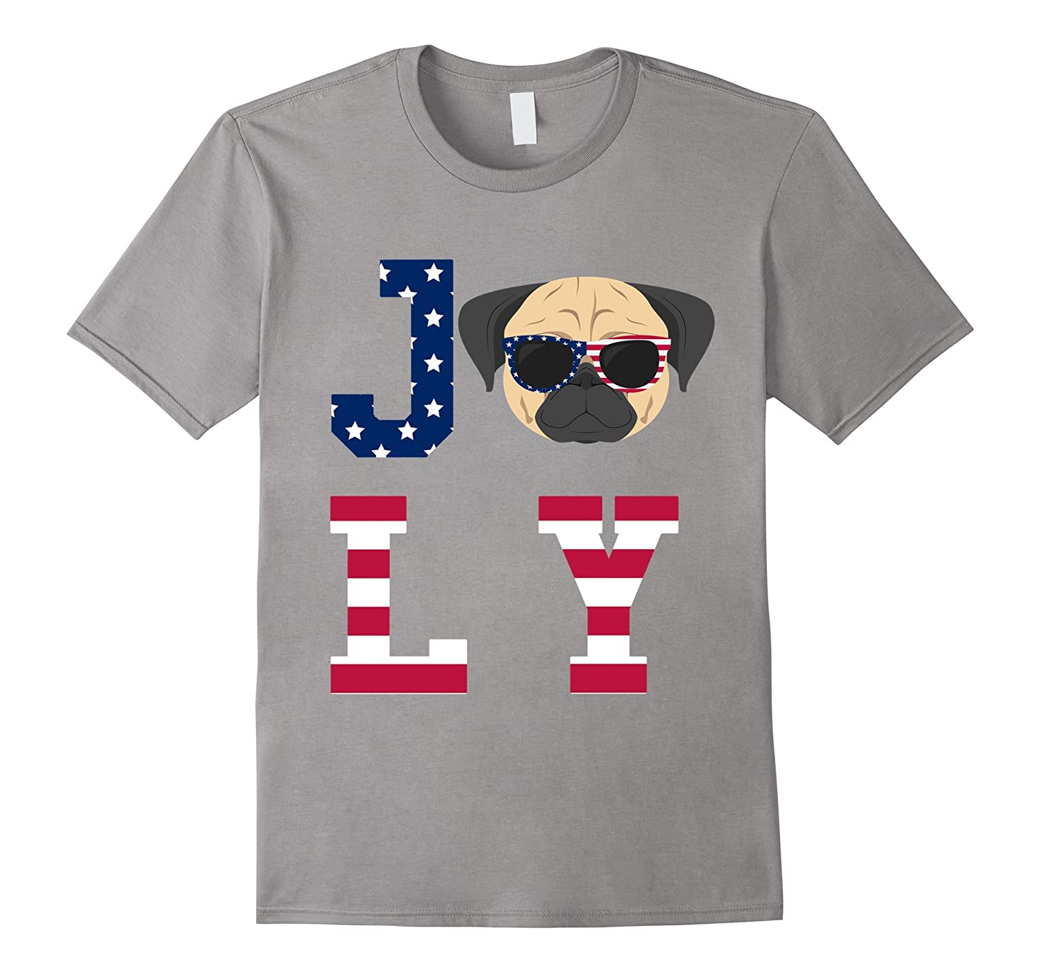 4th of July - Pug American Flag Dog T-Shirt-TH