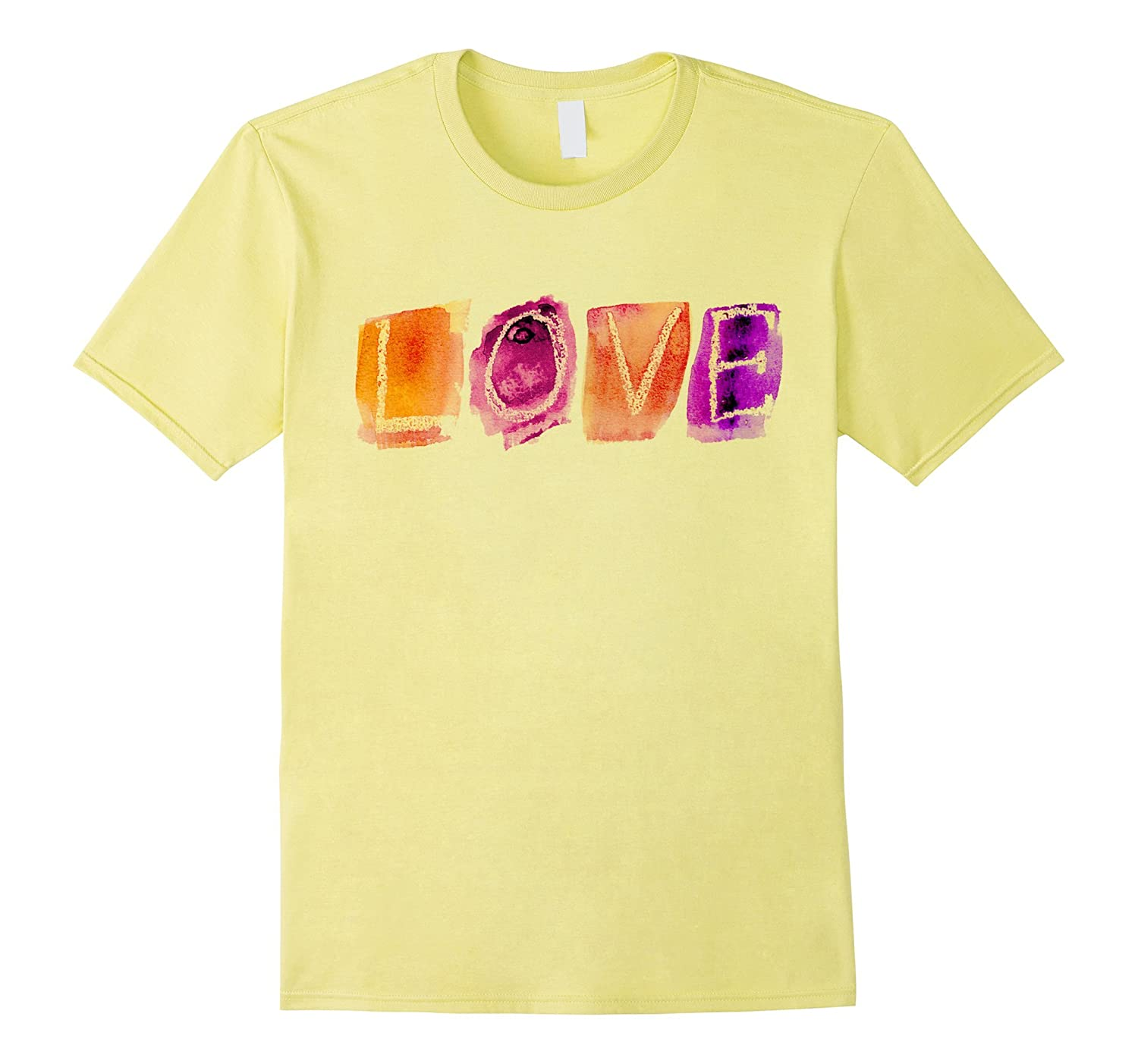 Artsy Love & Peace Colorful Watercolor Valentine Shirt-RT