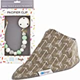 DK Leigh Silicone Pacifier Clip and Teether (2-in-1) Includes Baby Drool Bib | Home & Travel Babies Teething Set for Boys and Girls | Universal Loop Holder Fits Standard Pacifiers