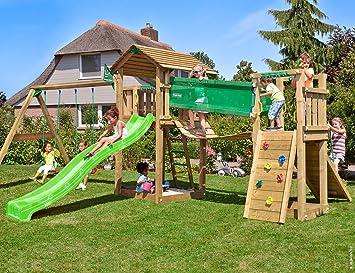 Klettergerüst Selbst Zusammenstellen : Jungle gym cottage bridge 2 swing grün garten kinder holz