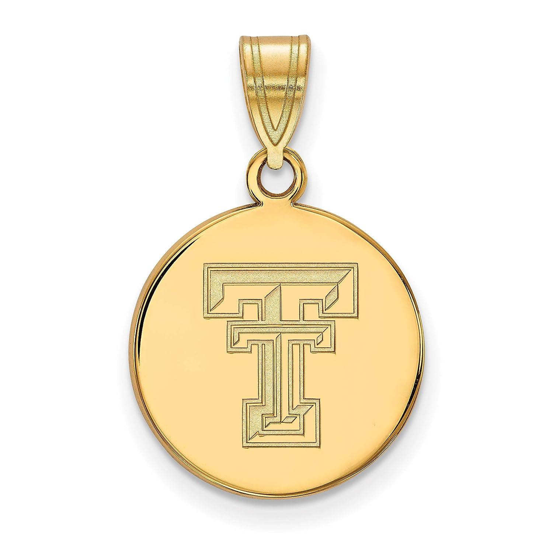 10k Yellow Gold Texas Tech Red Raiders School Letters Logo Disc Pendant 16x15mm