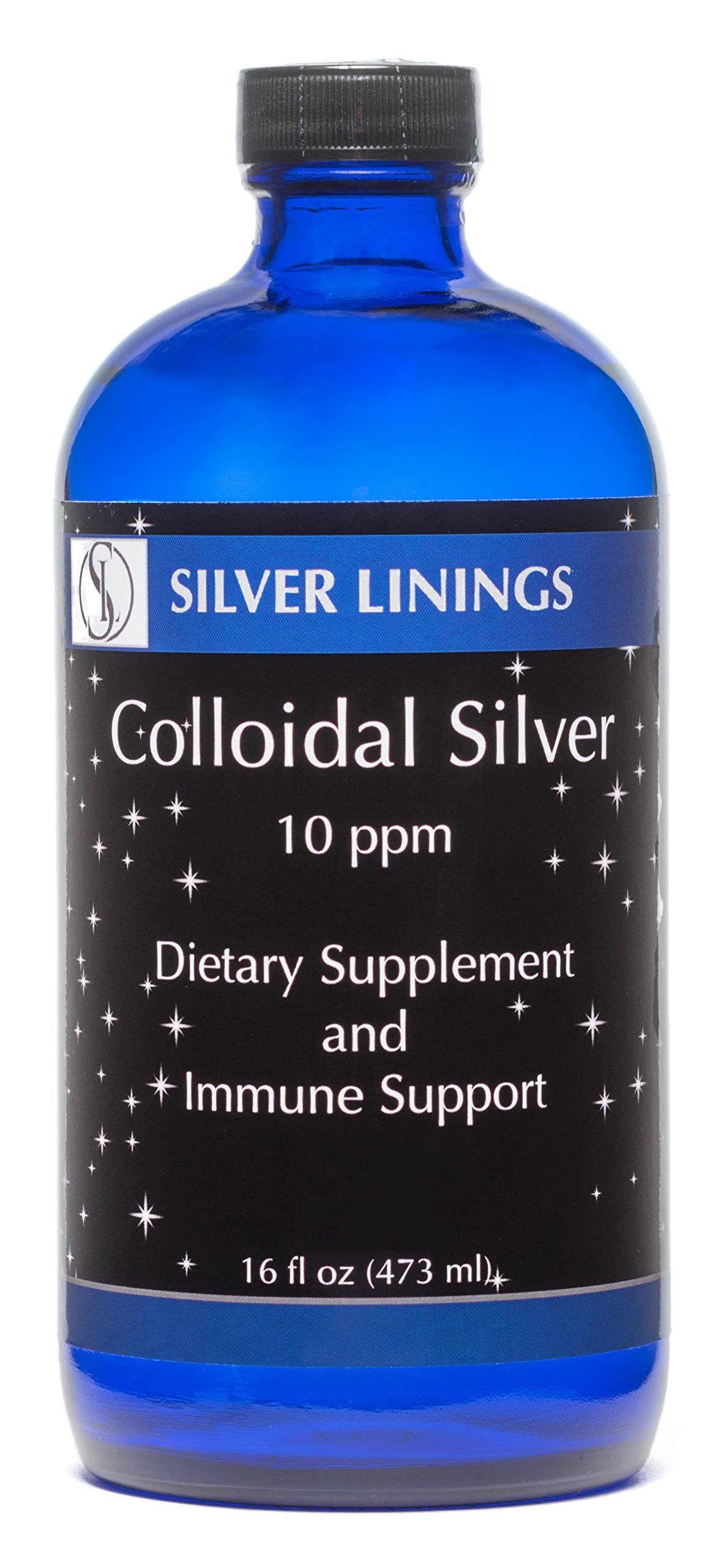 Silver Linings Colloidal Silver Hydrosol, 10 PPM, A Powerful Natural Antibiotic, and Preventative Measure Against Infection, Immune Support, Safe for Adults, Kids, Pets, and Plants, 16 oz by Silver Linings (Image #1)