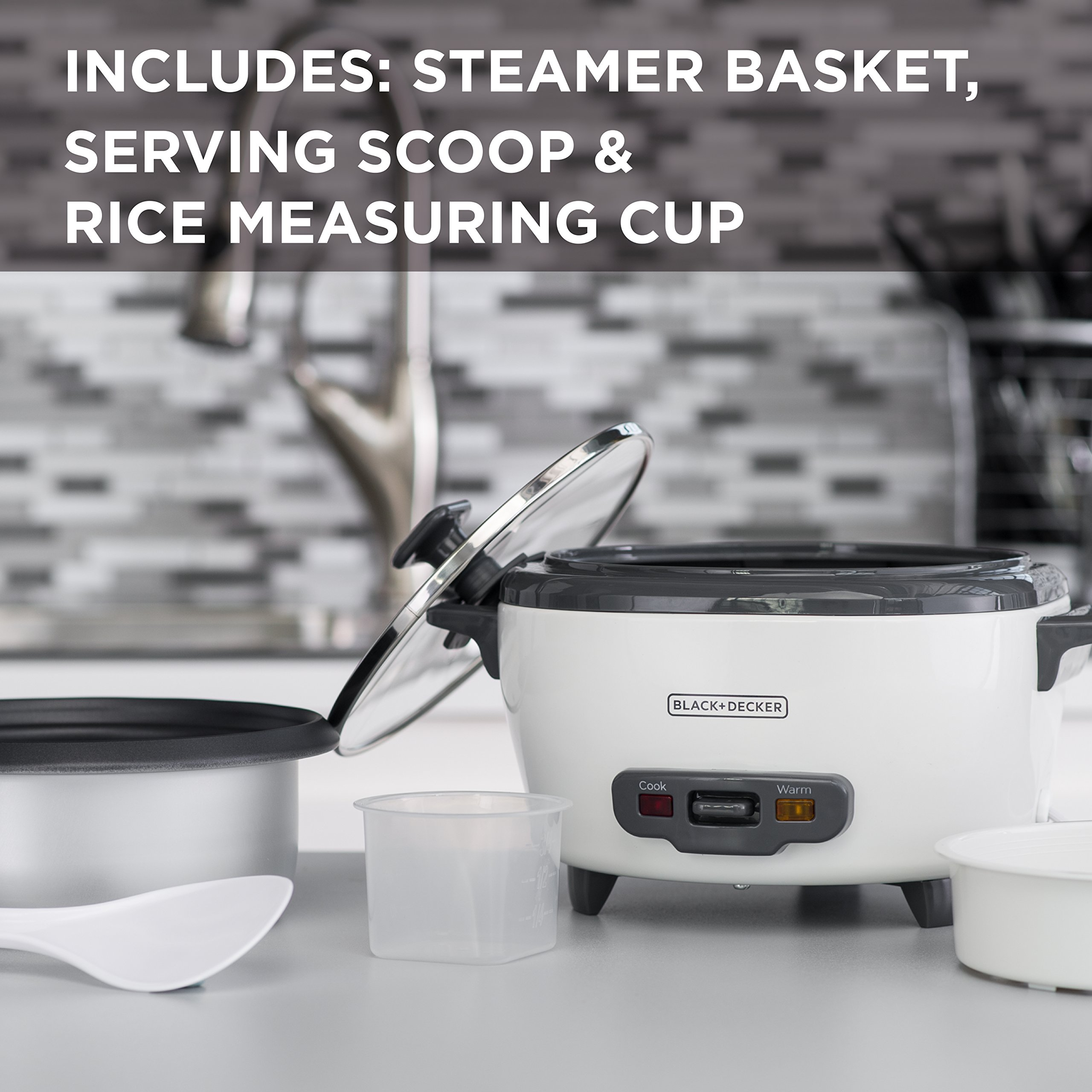 BLACK+DECKER RC506 6-Cup Cooked/3-Cup Uncooked Rice Cooker and Food Steamer, White by BLACK+DECKER (Image #3)
