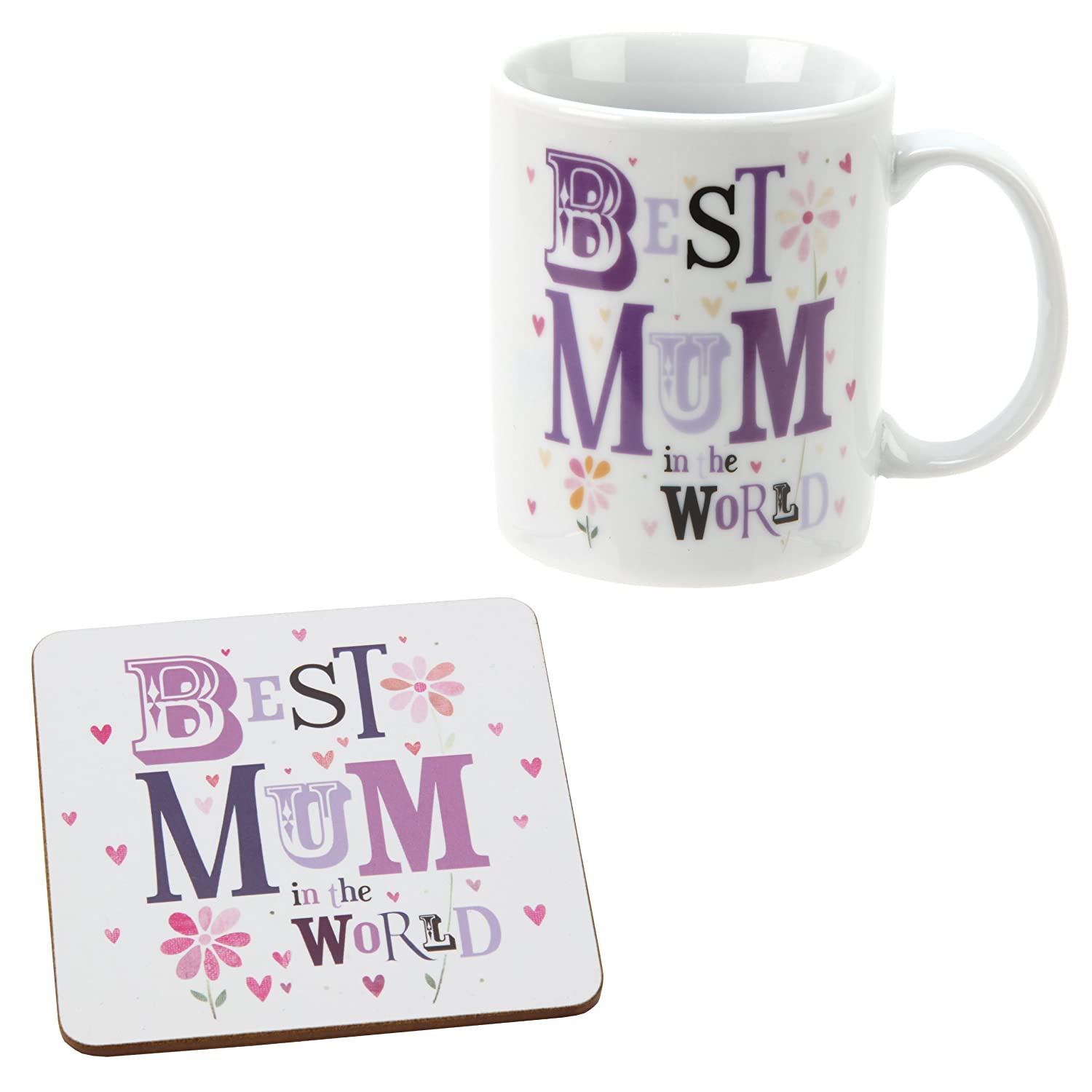 Best Mum in the World Mug & Coaster Set LBS4ALL